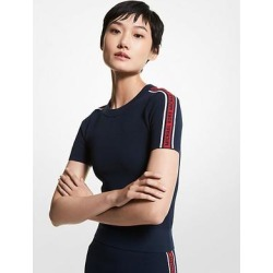 Michael Kors Logo Tape Textured Knit Short-Sleeve Sweater Blue XS found on MODAPINS from Michael Kors for USD $105.00