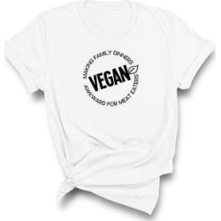 Vegan, Making Family Dinners Awkward for Meat Eaters - Funny T-Shirt (L - White), Adult Unisex