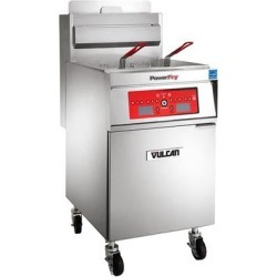 Vulcan 1TR85DF-1 PowerFry3 Natural Gas 85-90 lb. Floor Fryer with Solid State Digital Controls and KleenScreen Filtration System - 90,000 BTU