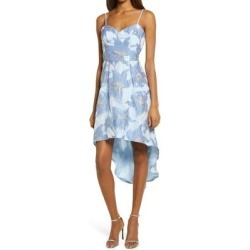 Metallic Floral Jacquard High/low Cocktail Dress - Blue - Chi Chi London Dresses found on MODAPINS from lyst.com for USD $130.00