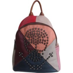 Amerileather Women's Backpacks Rainbow - Cognac & Red Color Block Skull Joreah Leather Backpack found on Bargain Bro India from zulily.com for $59.99