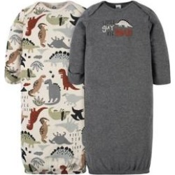 Gerber Brown Baby Boys 2 Pack Dino Gowns