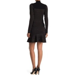 Diamond Pattern Long Sleeve Flounced Sweater Dress - Black - Nicole Miller Dresses found on Bargain Bro Philippines from lyst.com for $120.00