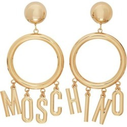 Gold Logo Hoop Clip-on Earrings - Metallic - Moschino Earrings found on Bargain Bro from lyst.com for USD $421.80