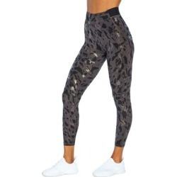 Cycle House by Marika Women's Leggings BLACK - 25'' Black & Clear-Foil Animal-Print Chaser Leggings - Women found on Bargain Bro India from zulily.com for $21.99