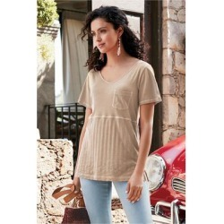 Women Cecily T-Shirt by Soft Surroundings, in Taupe size 1X (18-20)