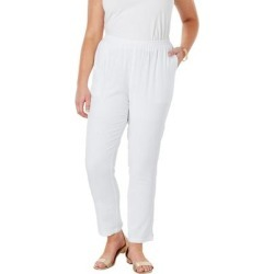 Plus Size Women's Linen Ankle Pant by Jessica London in White (Size 22 W) found on Bargain Bro Philippines from Ellos for $20.98