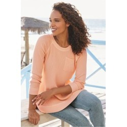 Women Autumn Waffle T-Shirt Orange by Soft Surroundings, in Apricot Ice size 1X (18-20)