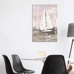 East Urban Home Soft Sailing by Nan - Print Canvas & Fabric/Metal in Brown/Green, Size 40.0 H x 26.0 W x 1.5 D in   Wayfair found on Bargain Bro Philippines from Wayfair for $182.58