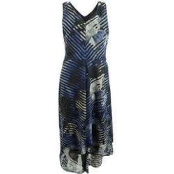 DKNY Women's Shadow Flower Printed Double-V Dress (2), Blue(polyester) found on Bargain Bro from Overstock for USD $34.19