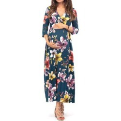 Mother Bee Maternity Women's Maxi Dresses Teal-28 - Teal Floral Maternity Three-Quarter Sleeve Surplice Maxi Dress found on Bargain Bro Philippines from zulily.com for $11.99