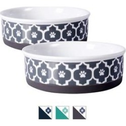Bone Dry Paw Lattice Print Non-Skid Ceramic Dog & Cat Bowl Set, 0.75-cup, 2 count found on Bargain Bro India from Chewy.com for $14.94