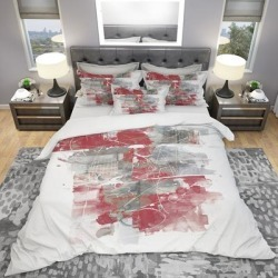 Designart 'Moving in and Out of Traffic I Red Grey' Geometric Bedding Set - Duvet Cover & Shams (King Cover + 2 king Shams (comforter not included)), found on Bargain Bro India from Overstock for $117.19