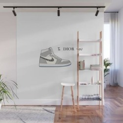 Wall Mural   Jordan 1 Grey Valentine's Day - I Adore You by Print-mania - 8' X 8' - Society6 found on Bargain Bro Philippines from Society6 for $239.99