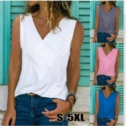 Women's V-Neck Sleeveless Blouse Plain T Shirts Fits Tunic Tank Top (Yellow - M)(polyester, solid) found on Bargain Bro Philippines from Overstock for $20.37