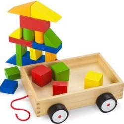 Imagination Generation Push and Pull Toys - Wooden Wonders Take-Along Building Block Wagon Set found on Bargain Bro from zulily.com for USD $9.86