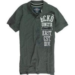 petite Ecko Unltd. Mens Ss Vertical Numeral Rugby Polo Shirt (Gray - X-Small), Men's(cotton, embroidered)