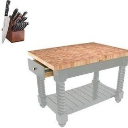 John Boos Tusi- EG 54x32 Butcher Block & Henckels Knife Set (Useful Grey), Useful Gray found on Bargain Bro Philippines from Overstock for $2524.00
