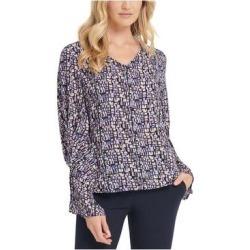 DKNY Purple Long Sleeve Blouse Top L (Purple - L), Women's(knit, Geometric) found on Bargain Bro from Overstock for USD $14.36