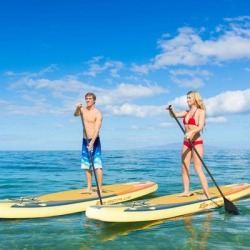 Costway Inflatable Stand Up Paddle Board Surfboard with Bag Aluminum Paddle and Hand Pump-M found on Bargain Bro Philippines from Costway for $269.95