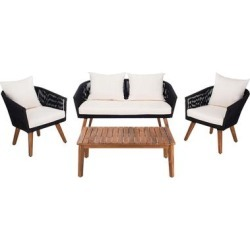 Safavieh Velso 4 Piece Outdoor Dining Set, Black/Beige found on Bargain Bro from samsclub.com for USD $683.24