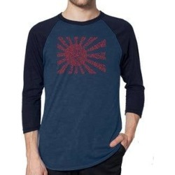 Los Angeles Pop Art Men's Raglan Baseball Word Art T-shirt - Lyrics to The Japanese National Anthem (denim / navy - s), Blue found on Bargain Bro India from Overstock for $25.19