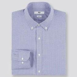 UNIQLO Men's Easy Care Checked Slim-Fit Long-Sleeve Shirt, Blue, XL found on Bargain Bro India from Uniqlo for $9.90