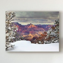 Millwood Pines 'Snowy Grand Canyon I' Graphic Art Print on Wrapped Canvas Canvas & Fabric in Brown/Indigo/Red, Size 18.0 H x 24.0 W x 2.0 D in found on Bargain Bro Philippines from Wayfair for $59.99