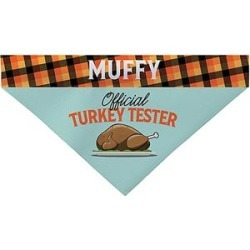 Personalized Planet Pet Costumes - Teal & Orange 'Official Turkey Tester' Personalized Pet Bandanna found on Bargain Bro from zulily.com for USD $9.11