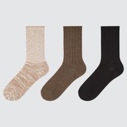 UNIQLO Women's Slub Ribbed Socks (3 Pairs), Beige, 24-26cm found on Bargain Bro Philippines from Uniqlo for $12.90