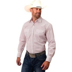 Roper Western Shirt Mens L/S Print Snap White (M), Men's(cotton) found on Bargain Bro India from Overstock for $40.44