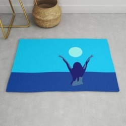 Blue Sky And Moon Is Calling Me.. Modern Throw Rug by Naamo - 2' x 3' found on Bargain Bro Philippines from Society6 for $39.20
