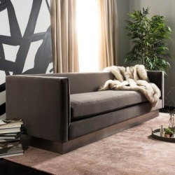 Safavieh Couture Marquette Taupe/ Silver Velvet Commercial Grade Sofa, Brown found on Bargain Bro from Overstock for USD $1,529.49