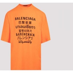 Multi Language Logo Oversized T-shirt M - Orange - Balenciaga T-Shirts found on Bargain Bro from lyst.com for USD $365.56