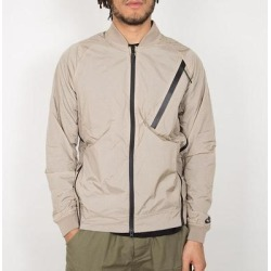 Khaki And White Black Tech Hypermesh Varsity Jacket - Brown - Nike Sweats found on Bargain Bro from lyst.com for USD $167.96