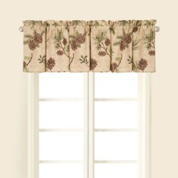 Sierra Retreat Brown Pinecone Window Curtain Valance Set 2 - 15.5 x 72 found on Bargain Bro from Overstock for USD $17.09