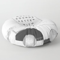 """Floor Pillow   Music Sounds Better With You by Galaxy Eyes - ROUND - 30"""" x 30"""" - Society6"""