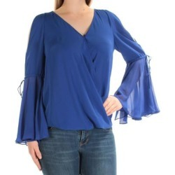 INC Womens Blue Cut Out Bell Sleeve V Neck Top Size M (Blue - M), Women's(Polyester, Solid) found on Bargain Bro India from Overstock for $25.98
