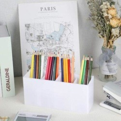 Inbox Zero Pencil Organizer Cup For Desk Pencil Cup Stationery Organizer in White, Size 3.95 H x 8.66 W x 2.75 D in   Wayfair found on Bargain Bro Philippines from Wayfair for $63.99
