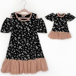 Lilli Lovebird Girls' Casual Dresses Raven - Raven Black & Pink Floral Camilla Drop-Waist Dress & Doll Dress - Girls found on Bargain Bro Philippines from zulily.com for $14.99