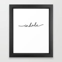 Framed Art Print | Inhale, 1 Of 2 Prints, Breathe Print by The Miuus Studio - Vector Black - X-Small-10x12 - Society6