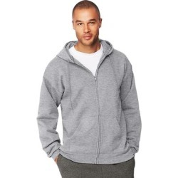 Hanes Men's Ultimate Cotton Heavyweight Full Zip Hoodie, Gray found on Bargain Bro from Overstock for USD $22.98