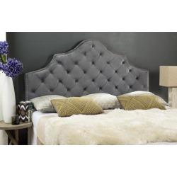 Safavieh Arebelle Pewter Velvet Upholstered Tufted Headboard - Silver Nailhead (Full) found on Bargain Bro from Overstock for USD $484.88