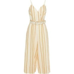 Cropped Printed Linen Wide-leg Jumpsuit Ivory - White - Nicholas Jumpsuits found on MODAPINS from lyst.com for USD $871.00