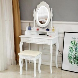 The Gray Barn Farthing Lot LED Single Mirror White 4-drawer Vanity Desk (White) found on Bargain Bro Philippines from Overstock for $245.49