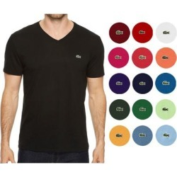 petite Lacoste Men's Pima Cotton Short Sleeve V Neck Athletic T-Shirt (White - S) found on Bargain Bro India from Overstock for $40.85