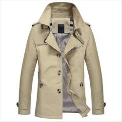 Men's Military Pure Cotton Lapel Jacket Single Breasted Casual Windbreaker Jacket (Shallow Khaki - XXXL), Shallow Green found on MODAPINS from Overstock for USD $73.33