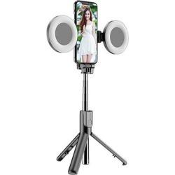 Tech Zebra Camera Mounts Black - Black 4-in-1 Wireless Bluetooth Selfie Stick found on Bargain Bro from zulily.com for USD $21.27