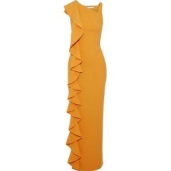 Farah Ruffled Cady Gown Saffron - Orange - Rachel Gilbert Dresses found on MODAPINS from lyst.com for USD $419.00