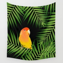 """Wall Hanging Tapestry   Lovebird Parrots In Green Palm Leaves On Black by Popparrot - 51"""" x 60"""" - Society6"""